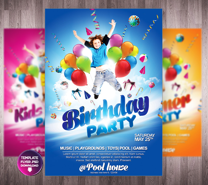 Kids Party Flyer Themes  - PSD Template by Grandelelo