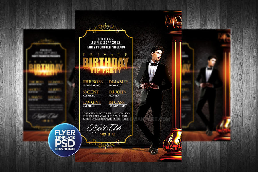 Birthday Party Flyer Template PSD By Grandelelo