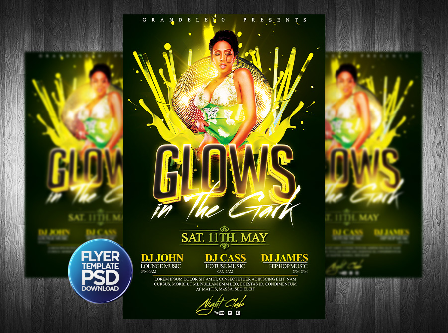 DeviantArt: More Like Glows in the Dark Party Flyer PSD by Grandelelo
