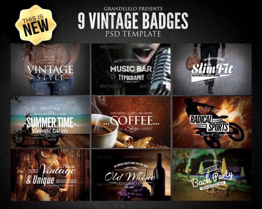 Vintage Badges PSD Template by Grandelelo on DeviantArt