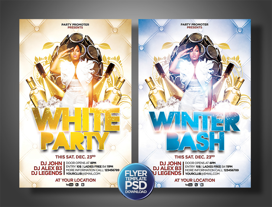 White And Whiter Party Flyers Template By Grandelelo On Deviantart