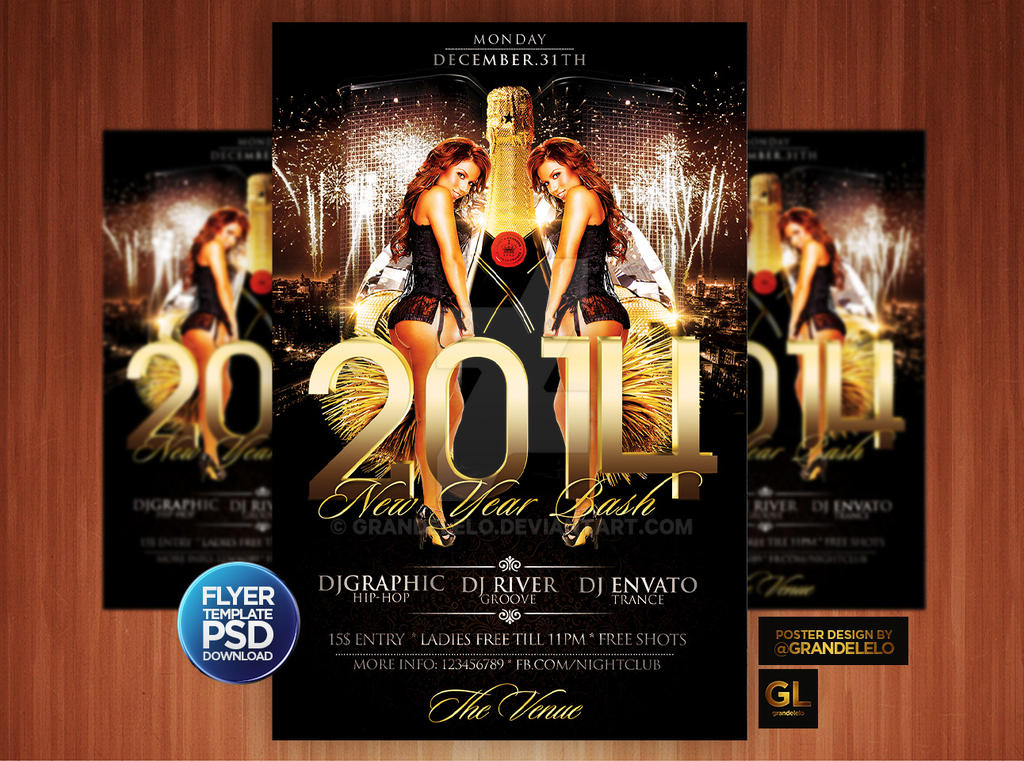 New Year Party Flyer Template By Grandelelo On Deviantart