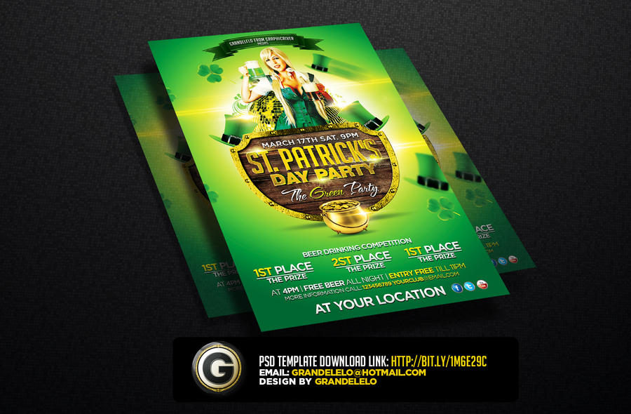 St. Patricks Day Flyer The Green Party By grandelelo