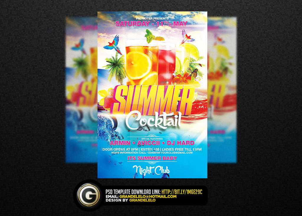 Summer Cocktail Party Flyer Template Psd By Grandelelo On Deviantart