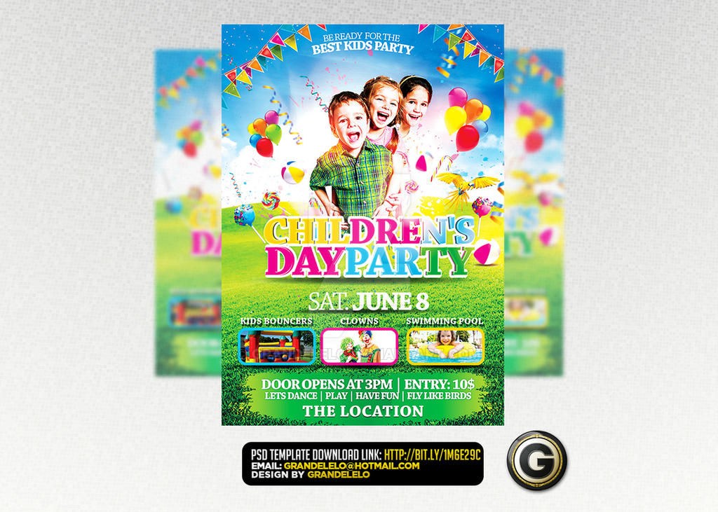 Childrens Kids Party Flyer Facebook Template Psd By Grandelelo On