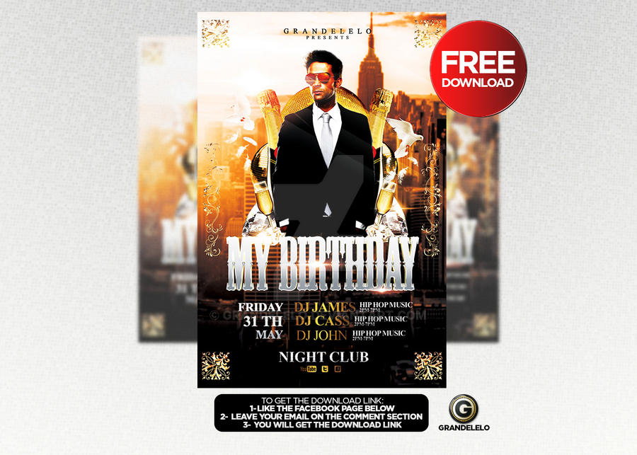 Free Birthday Bash Flyer Template D By Grandelelo On Deviantart