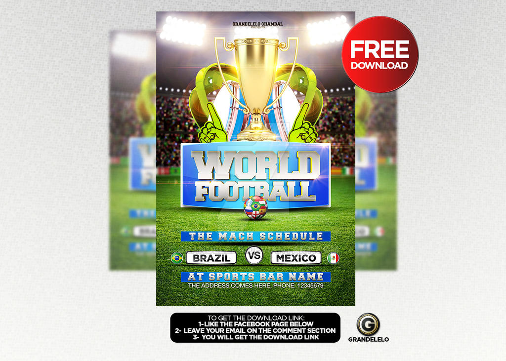FREE DOWNLOAD World Soccer Cup  Flyer Template PSD by Grandelelo