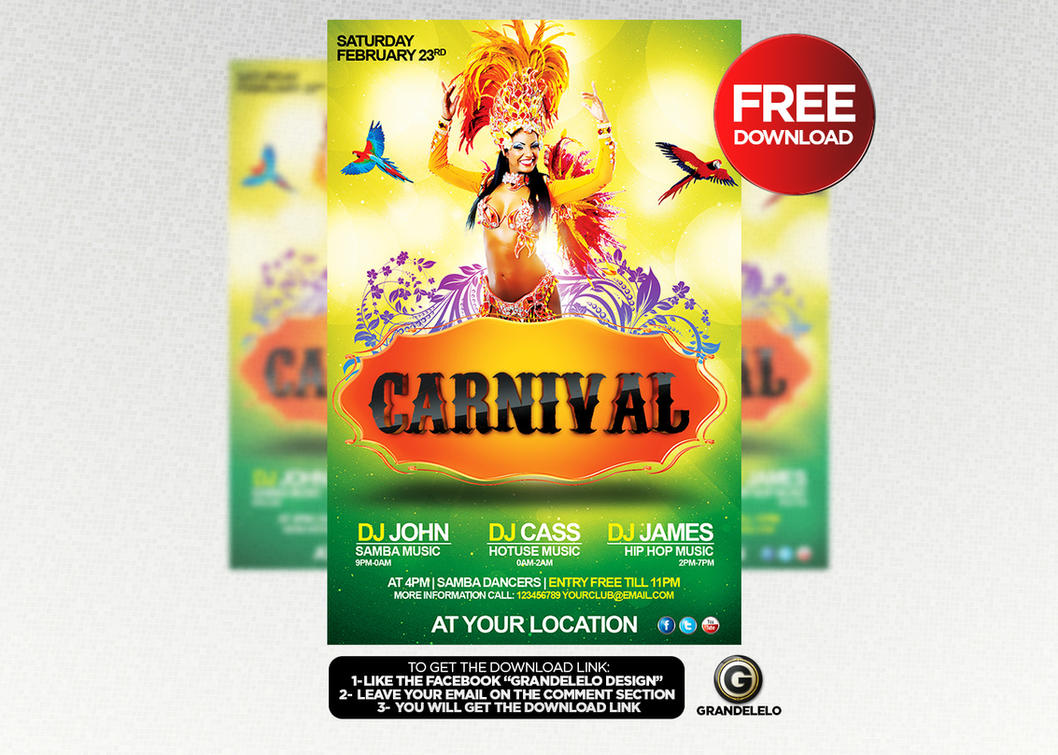 free carnival flyer template by grandelelo on deviantart