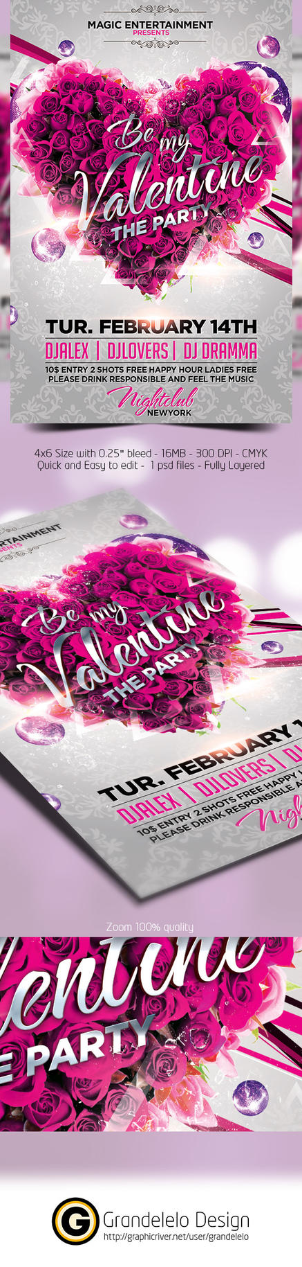 Be My Valentine Flyer Template by Grandelelo