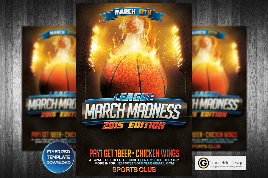 March Madness Basketball Flyer Template by Grandelelo