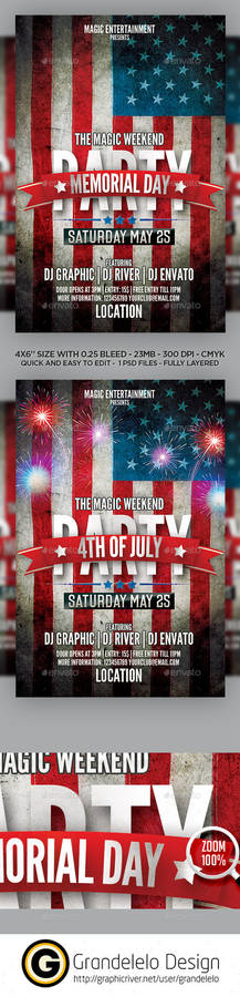 Memorial Day n 4th July 2015 Flyer Template PSD