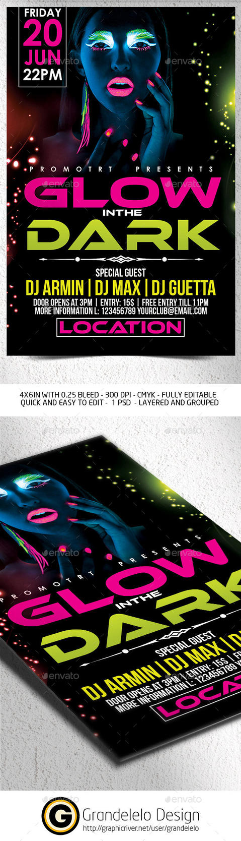 Glow in the Dark Flyer Template .PSD by Grandelelo
