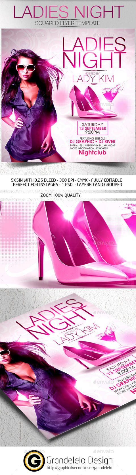 Ladies Night Flyer Template 2015 by Grandelelo