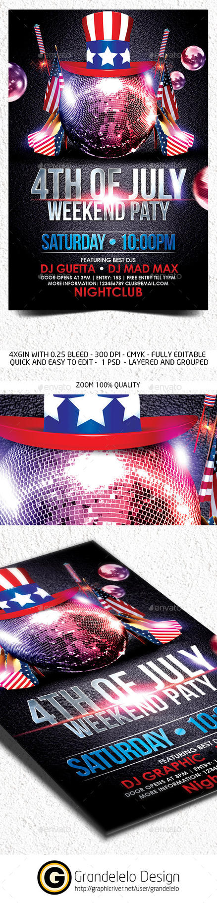 4th July Weekend Flyer Template by Grandelelo