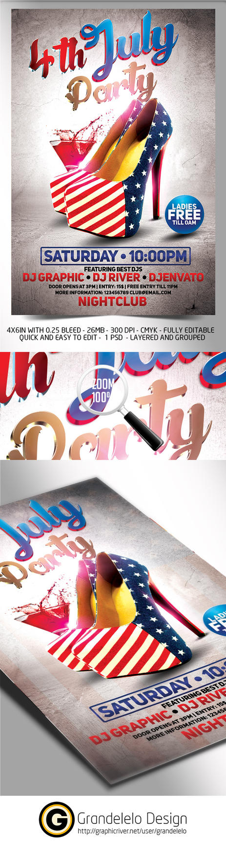 4th July Flyer Template 2015 Edition by Grandelelo
