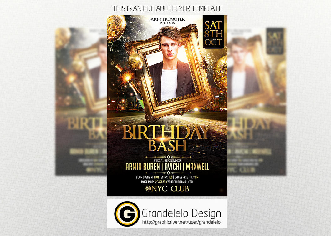 the birthday party flyer template by grandelelo on deviantart
