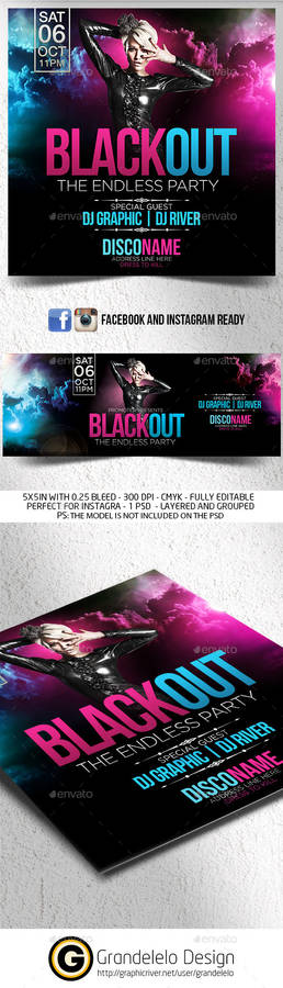 Blackout Flyer with FB and Instagram Template