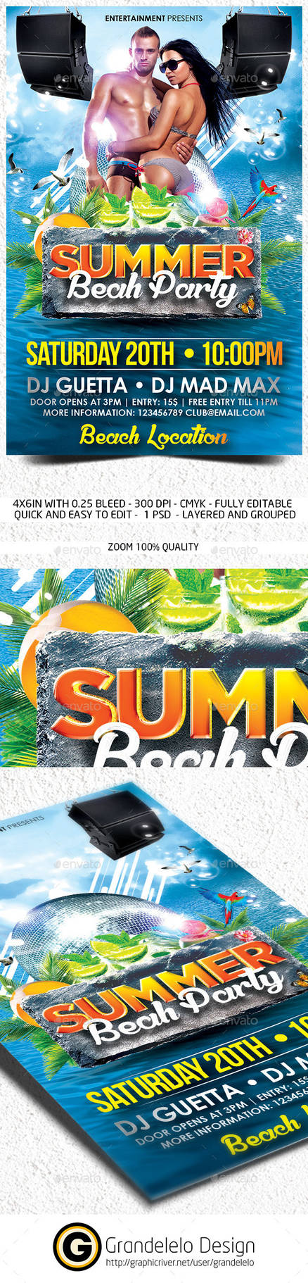 The Summer Beach Party Flyer Template
