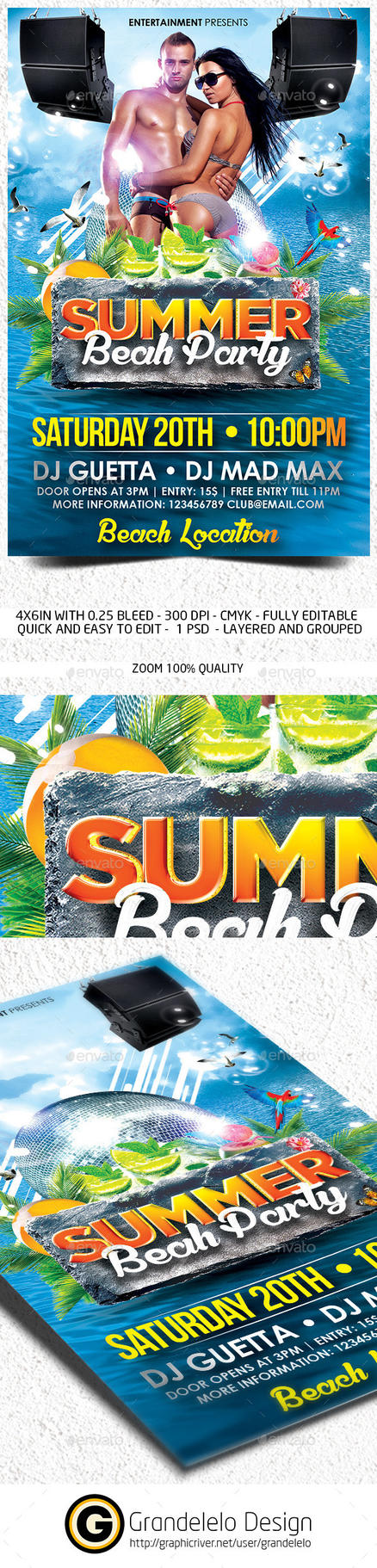 The Summer Beach Party Flyer Template by Grandelelo
