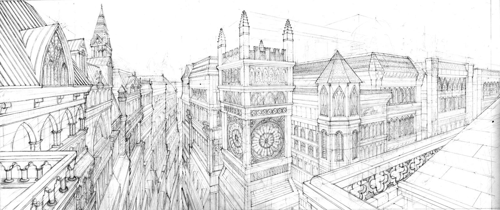 Gothic architecture by artbygiuseppe on deviantart for Architecture drawing