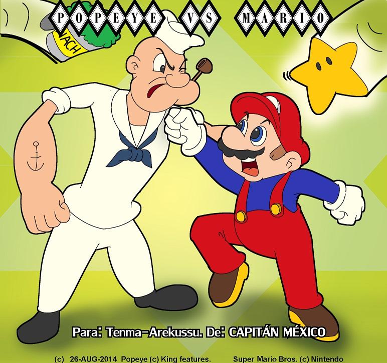 Mario VS Popeye by CaptainMexico