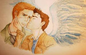 Supernatural Destiel Surprise Kiss by Shinigamii93