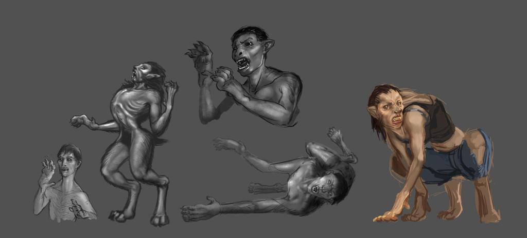 various werewolves transforming by liminalbean