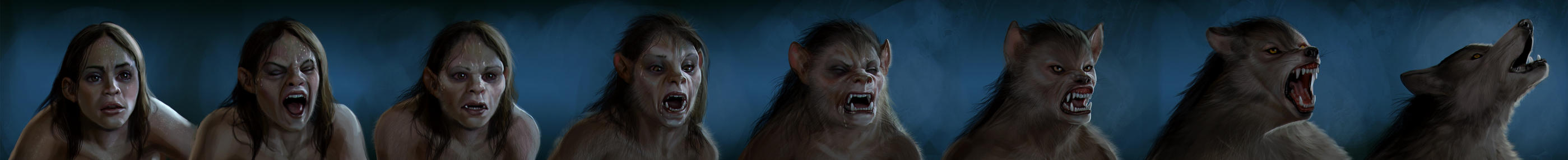 Werewolf Girl Transformation by liminalbean
