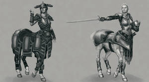 Skyrim Centaur Concepts 2 by liminalbean