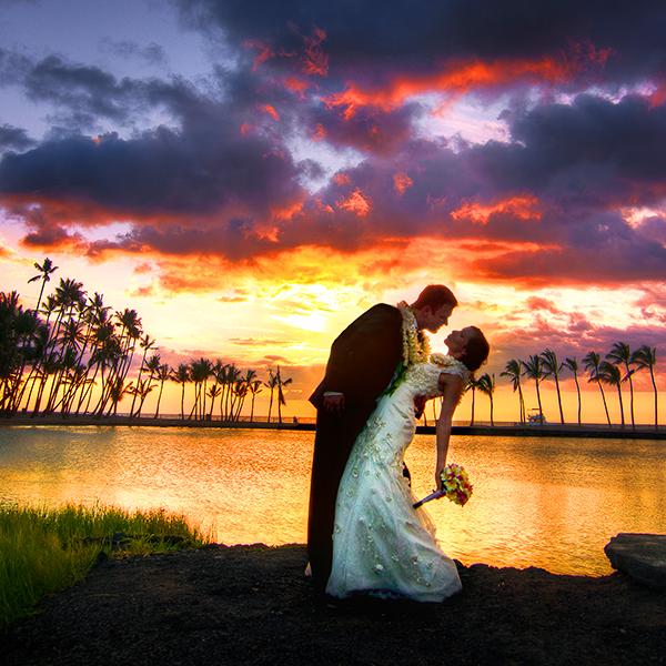 Hawaii, the sunset wedding