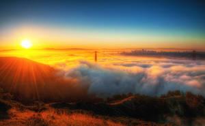 Sunrise over fog, San Francisco