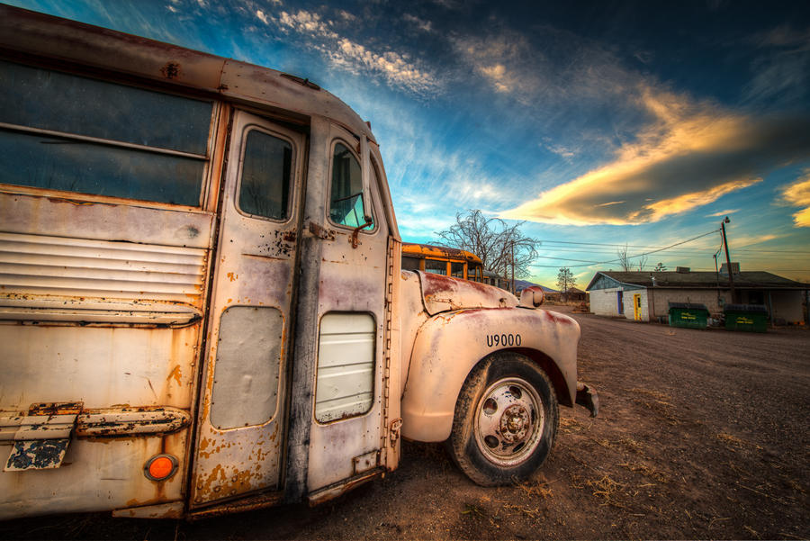 the old bus and the old town by alierturk