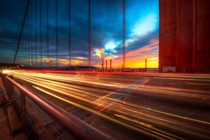 Golden Gate, amazing sky and traffic by alierturk