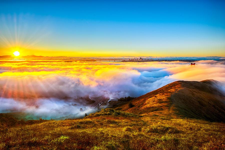 Golden Gate, golden sunrise by alierturk