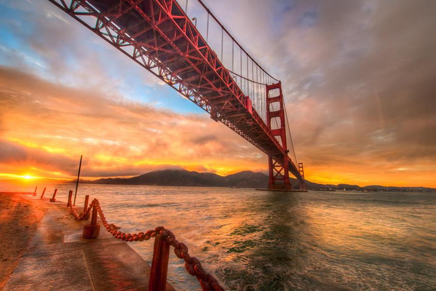 Golden Gate, golden scene by alierturk