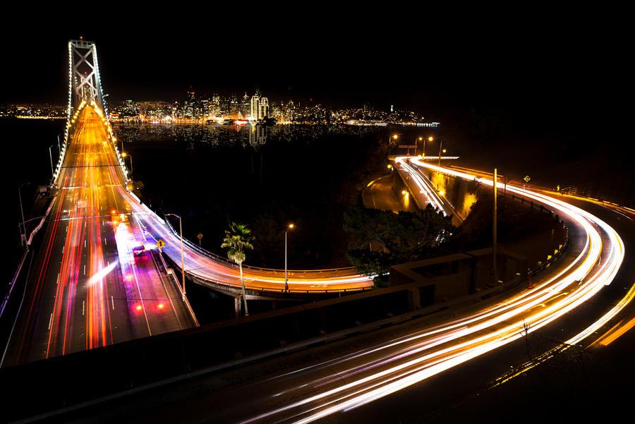 San Francisco, curves bridge and the city by alierturk