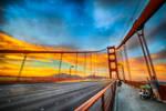 San Francisco, GG twins watching the sunset