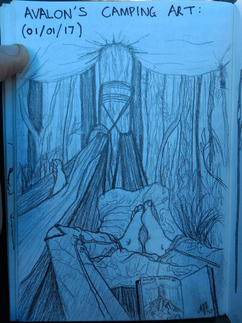 Camping sketch by Avajes