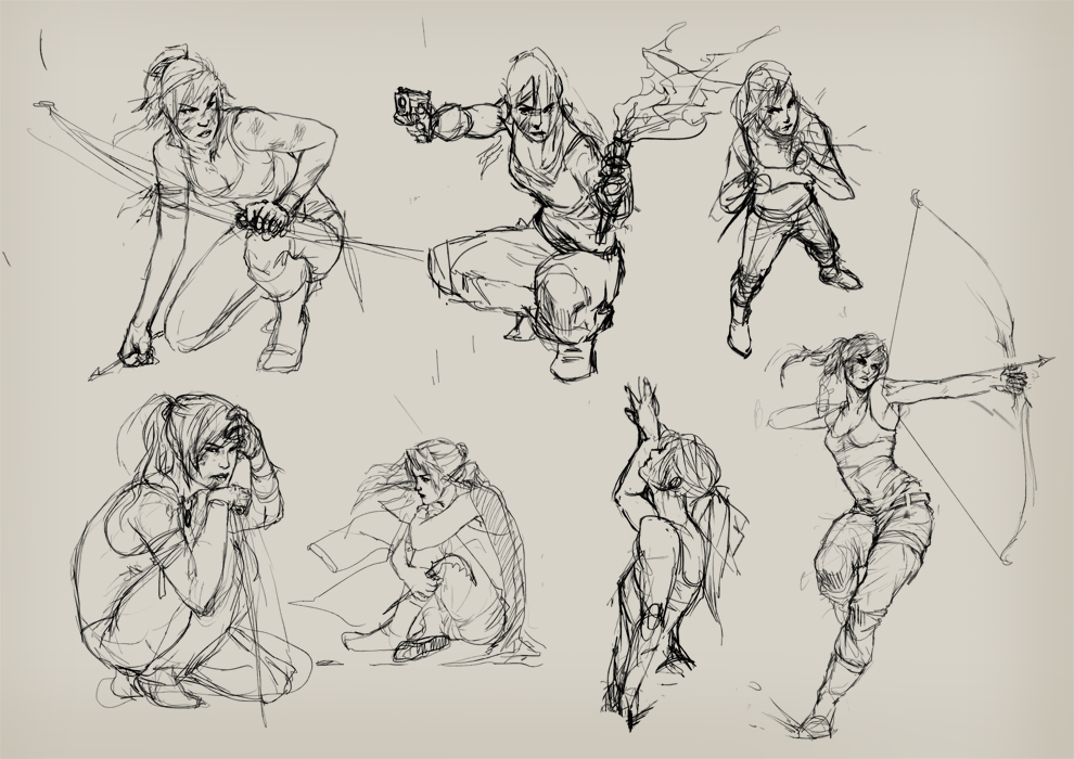 Tomb Raider Sketches by Izaskun