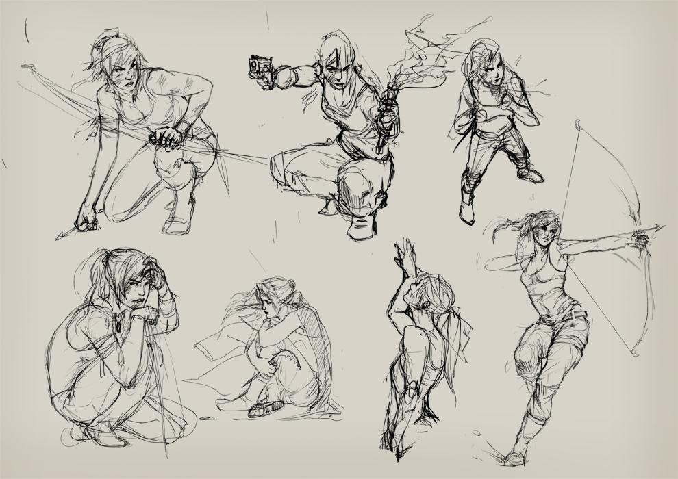 Tomb Raider Sketches by Izaskun