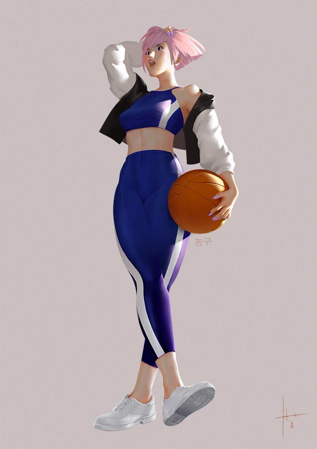 Basketball - Colored Inktober sketch by Izaskun