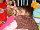 CC my puppy and I sleeping together on her doggy b by lexiealea