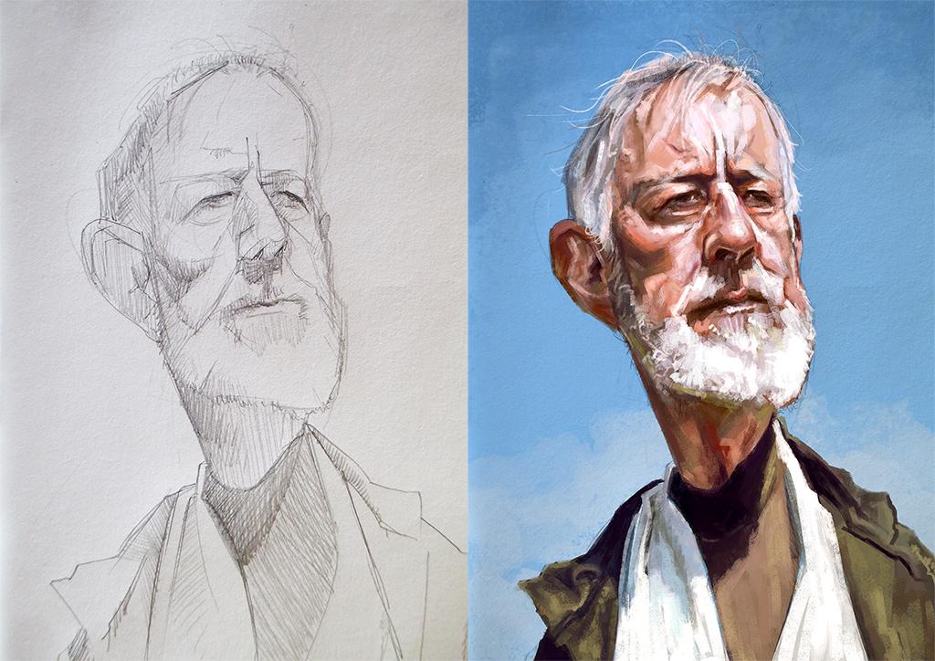 Obi -wan : Alec Guinnes caricature WIP by jupa1128