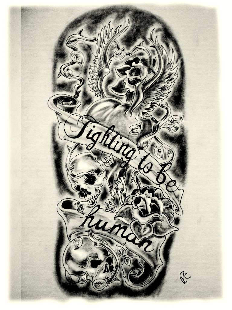 Half Sleeve Tattoo Stencils: Sleeve Fighting To Be Human By CANTRELLFLASH On DeviantArt