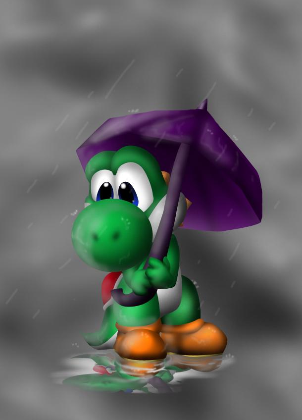 Rain drops on Yoshi by Foxeaf