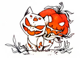 Halloweeny Bulbasaur by Foxeaf