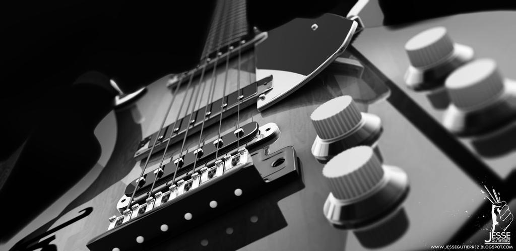 Black and white guitar by askblaster
