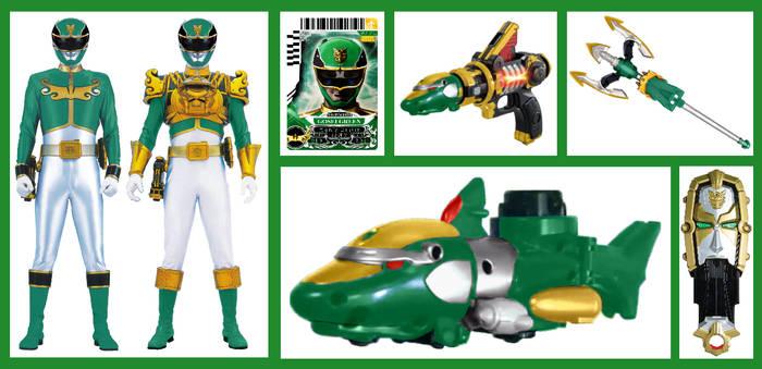 Gosei/Megaforce Green with his arsenal