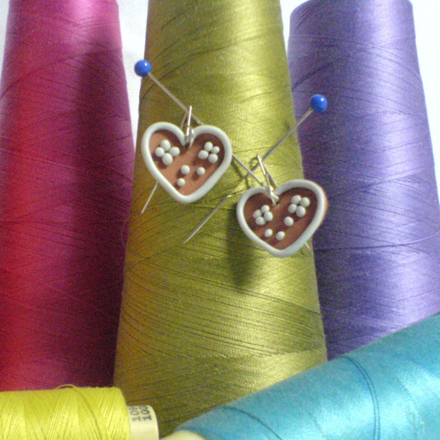 biscuit hearts earrings by strictlyhandmade