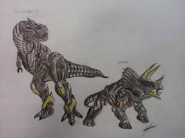 Grimlock and Slag Transformer Battle Machine by GUILLERMOTFMASTER
